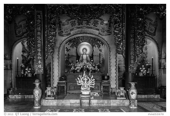 Interior of Linh Ung pagoda,. Da Nang, Vietnam (black and white)