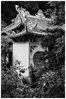 Linh Ung pagoda and monk. Da Nang, Vietnam (black and white)