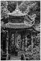 Statue and pavillion, Linh Ung. Da Nang, Vietnam (black and white)