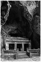 Santuary in Buddhist grotto, Thuy Son. Da Nang, Vietnam (black and white)