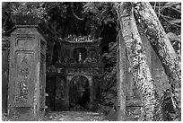 Gate at the entrance of Huyen Khong cave. Da Nang, Vietnam (black and white)