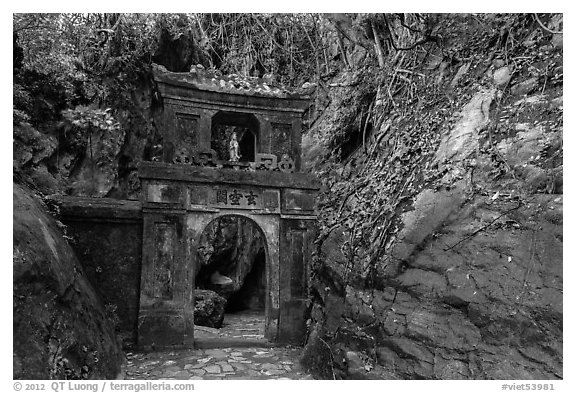 Gate in the jungle, Thuy Son hill, Marble Mountains. Da Nang, Vietnam (black and white)