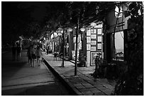 Street lined with art galleries by night. Hoi An, Vietnam ( black and white)