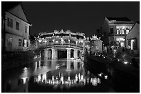 Japanese Bridge on lantern festival night. Hoi An, Vietnam (black and white)