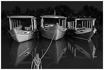 Boats at night. Hoi An, Vietnam (black and white)