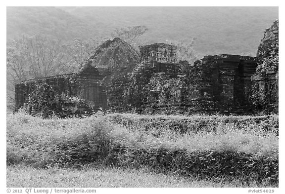 Ruined cham temples in the mist. My Son, Vietnam (black and white)