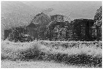 Ruined cham temples in the mist. My Son, Vietnam ( black and white)