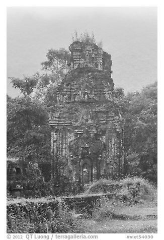 Ruined cham tower in the mist. My Son, Vietnam (black and white)