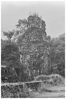 Ruined cham tower in the mist. My Son, Vietnam ( black and white)