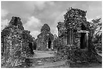 Hindu tower temples. My Son, Vietnam ( black and white)