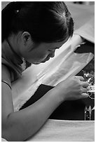 Silk embroider. Hoi An, Vietnam (black and white)