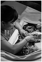 Embroidery artist. Hoi An, Vietnam (black and white)