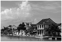 Waterfront houses. Hoi An, Vietnam (black and white)