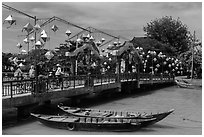 Cam Nam bridge with lanterns. Hoi An, Vietnam (black and white)