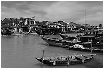 Boats, ancient town. Hoi An, Vietnam (black and white)