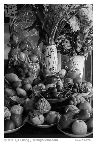 Fruit offering on temple altar. Hoi An, Vietnam (black and white)