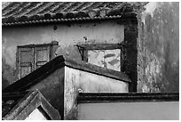 Building corners detail. Hoi An, Vietnam (black and white)