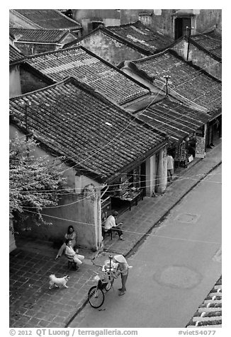 Old houses with tile rooftops and street from above. Hoi An, Vietnam (black and white)