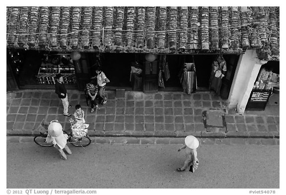 Street activity from above. Hoi An, Vietnam (black and white)
