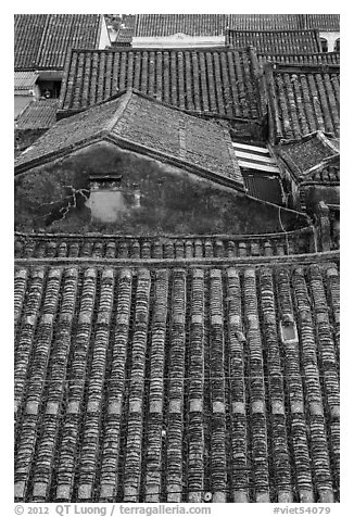Rooftop detail. Hoi An, Vietnam (black and white)