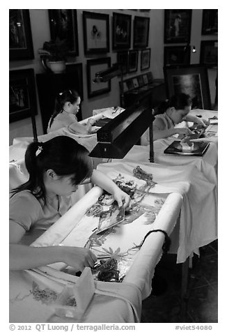 Silk Embroidery workshop. Hoi An, Vietnam (black and white)