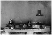 Yellow kitchen and altar. Hoi An, Vietnam (black and white)