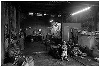 Family kitchen area, Quan Thang house. Hoi An, Vietnam (black and white)
