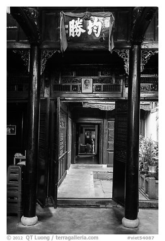 Woodwork inside Quan Thang historic house. Hoi An, Vietnam (black and white)