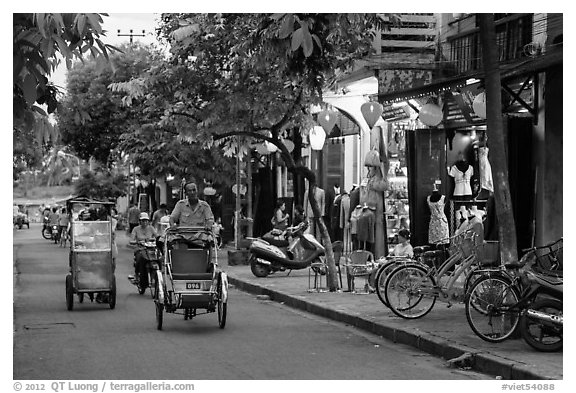 Street at dusk. Hoi An, Vietnam (black and white)