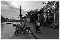 Waterfront at dusk. Hoi An, Vietnam (black and white)