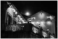 House with lanterns and moon. Hoi An, Vietnam (black and white)