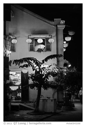 Townhouse with lanterns. Hoi An, Vietnam (black and white)