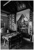 Interior of Cam Kim village home. Hoi An, Vietnam (black and white)