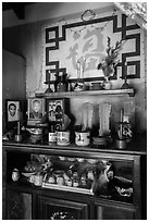 Ancestral altar, Cam Kim Village home. Hoi An, Vietnam (black and white)