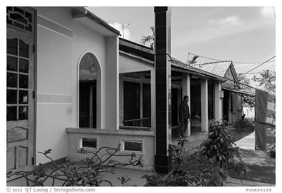 Three generations of homes, Cam Kim Village. Hoi An, Vietnam (black and white)