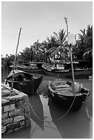 Fishing boats, Cam Kim Village. Hoi An, Vietnam ( black and white)