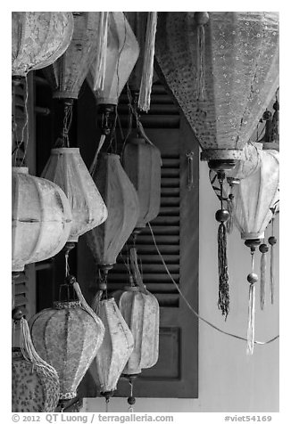 Lanterns for sale. Hoi An, Vietnam (black and white)