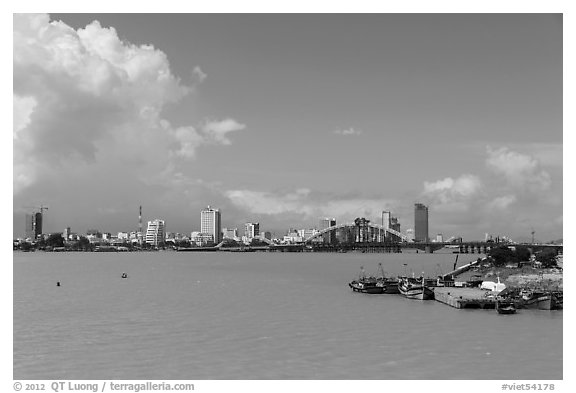River and city skyline. Da Nang, Vietnam (black and white)
