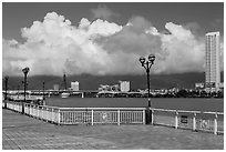 Riverfront. Da Nang, Vietnam (black and white)