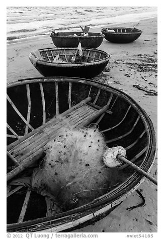 Coracle boats with fishing gear. Da Nang, Vietnam (black and white)