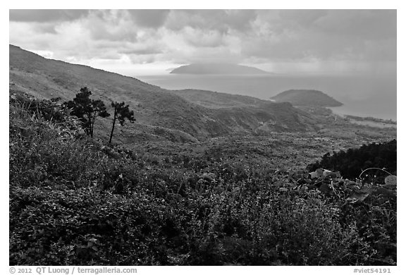 View from Hai Van pass in rainy weather, Bach Ma National Park. Vietnam (black and white)
