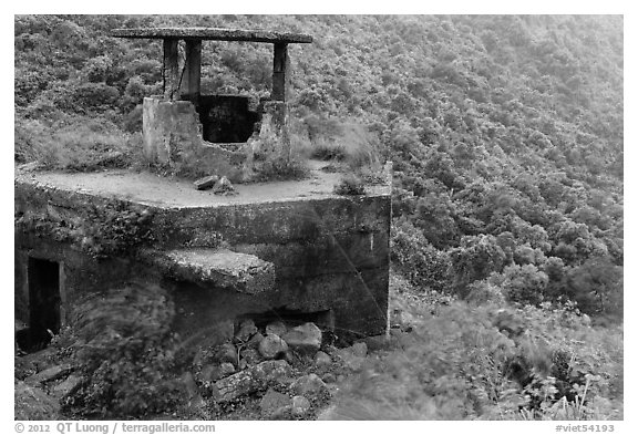Abandonned bunker, Hai Van pass. Vietnam (black and white)