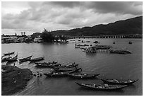 Fishing village, stormy evening. Vietnam (black and white)