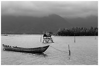 Lang Co lagoon. Vietnam (black and white)