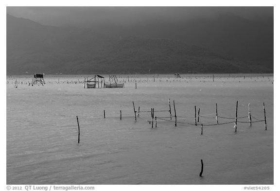 Fish traps in lagoon. Vietnam (black and white)