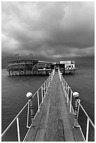 Boarwal, offshore restaurant, and threatening clouds. Vietnam (black and white)