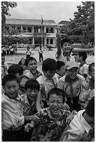 Schoolchildren during recess. Vietnam (black and white)