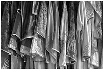 Silk robes, imperial citadel. Hue, Vietnam ( black and white)