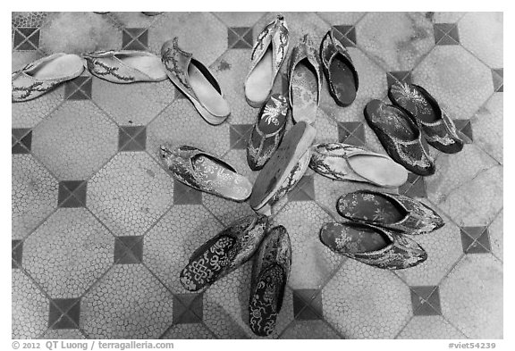 Slippers in imperial style, imperial citadel. Hue, Vietnam (black and white)