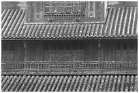 Detail of tile roof and wooden palace, citadel. Hue, Vietnam ( black and white)
